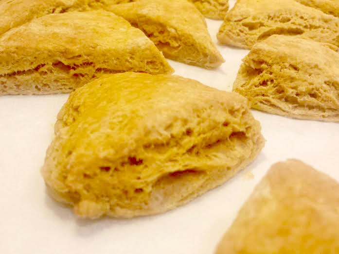 Pumpkin Cardamom Scones-baking